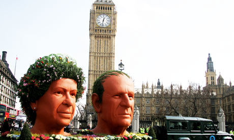 Big Ben heads of the Queen adn Philip