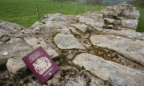 A passport on Hadrians Wall on the Scottish border