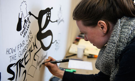 Drawing cartoons at the Guardian Open Weekend