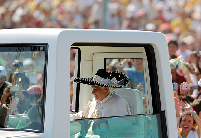 Pope visit to Mexico: Pope Benedict XVI wears a traditional Mexican hat