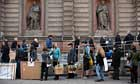 People arrive at The Royal Academy of Arts in London to hand in work for the 244th Summer Exhibition
