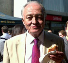 Ken Livingstone eating a pasty.