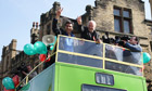 George Galloway waves to supporters in Bradford