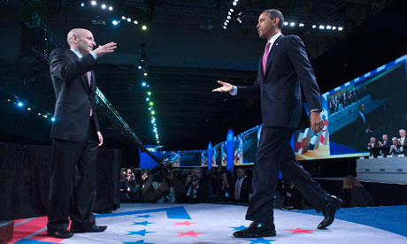 Barack Obama  is welcomed by Aipac president Lee Rosenberg