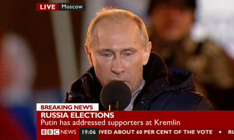 Vladimir Putin claims victory in the Russian presidential elections on 4 March 2012.