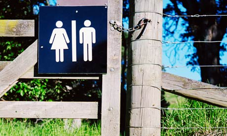 Toilet sign on camp ground gate