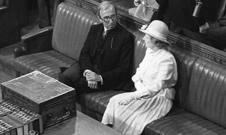 The then Norman St John-Stevas talks to Margaret Thatcher at the state opening of parliament in 1979