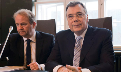 Former Icelandic prime minister Geir Haarde and lawyer Andri Arnason at his trial in Reykjavik