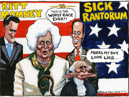 Steve Bell on the Republican Super Tuesday primaries – cartoon
