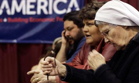 Santorum supporters in Steubenville, Ohio