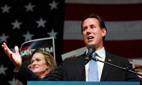 Former senator Rick Santorum speaks at his Super Tuesday rally in Ohio