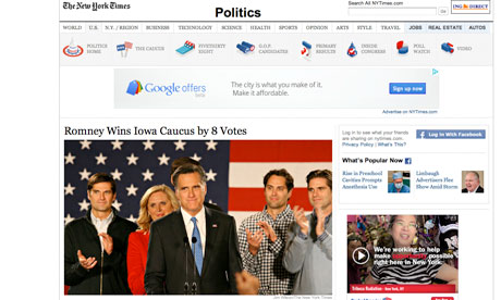 Romney wins Iowa New York Times