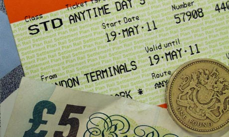 Rail ticket and money