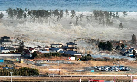 tsunami wave hits Japan