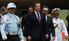 Davidf Cameron arriving in Indonesia