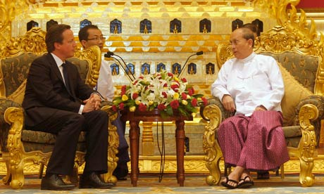 David Cameron meets Burma's president, Thein Sein