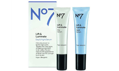 The new Lift & Luminate Day & Night serum set (£24.95, boots.com)