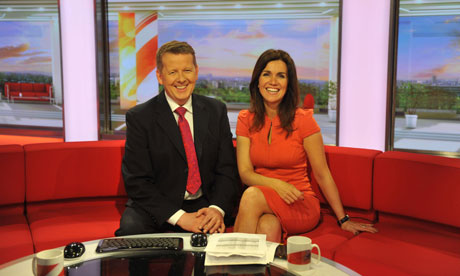 Bill Turnbull and Susanna Reid onm the BBC Breakfast set in Salford
