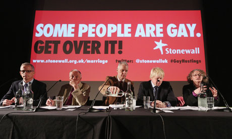 Stonewall's Ben Summerskill (centre) chaired the London mayoral hustings on LGBT issues