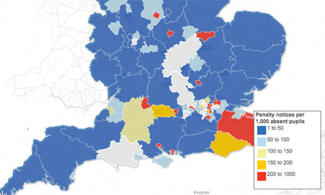 Truancy in England map