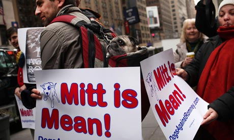 Protesters from a campaign group called Dogs Against Romney hold placards reading 'Mitt is Mean!'