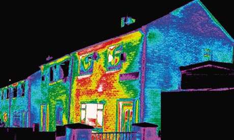 Thermal image of a poorly insulated home