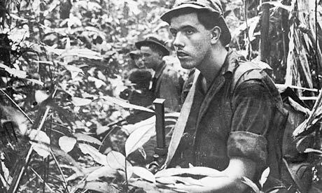 British troops on patrol in Malayan jungle
