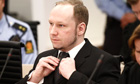Anders Behring Breivik at the start of the third day of his trial