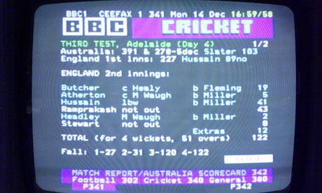Ceefax cricket scores