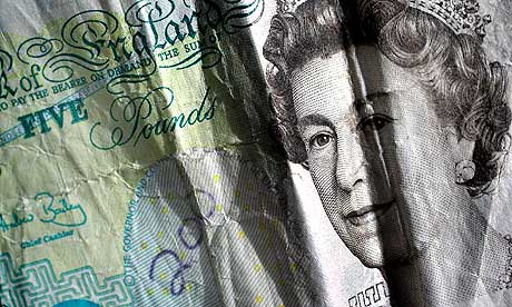 Screwed up five pound note