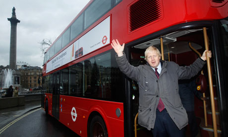 Boris Johnson on a bus