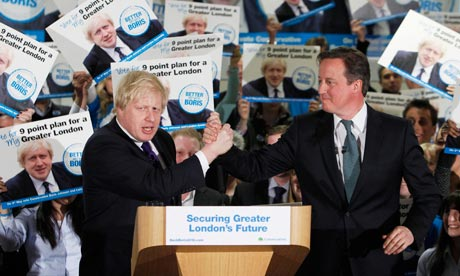 Britain's PM Cameron and London Mayor Johnson