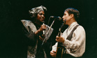 Simon performing with Miriam Makeba.