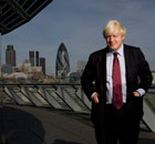 Boris Johnson in front of the City of London.