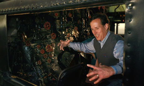 Rick Santorum in a train cab