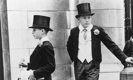 Eton schoolboys in their formal uniform