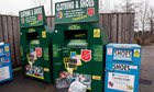 Salvation Army clothes recycling banks.