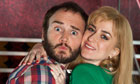 Kenny Everett, played by Oliver Lansley, with his wife, Lee Middleton, played by Katherine Kelly