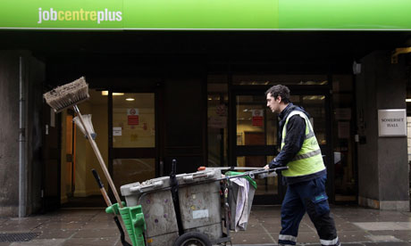 Street cleaner outside a job centre