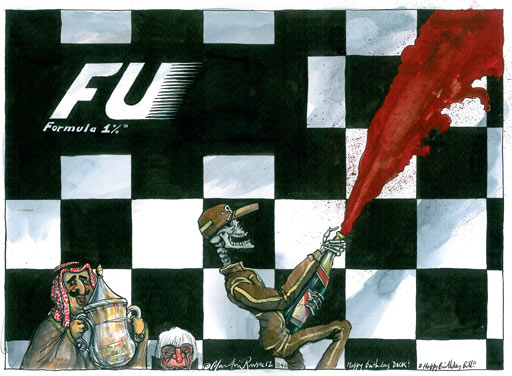 Martin Rowson on the Bahrain Grand Prix controversy - cartoon