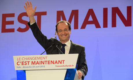 Socialist party presidential candidate Francois Hollande