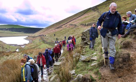 ramblers in kinder, lake district