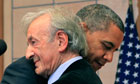 Obama was introduced by Holocaust survivor Eli Wiesel