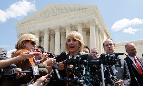 Jan Brewer outside supreme court