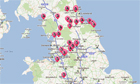 The Northerner events map