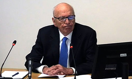 News Corp chief Rupert Murdoch giving evidence at the Leveson inquiry