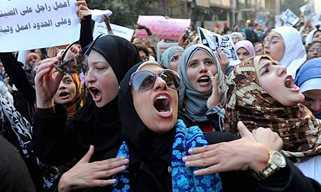 Egyptian women protest against army's use of violence against them in Cairo