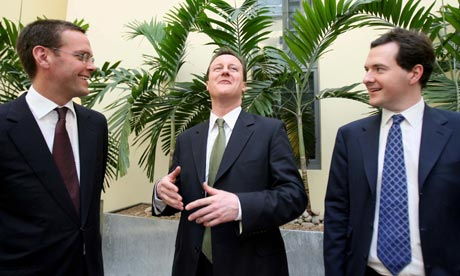 James Murdoch, David Cameron and George Osborne, 12/3/07