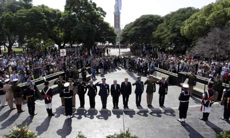 Argentinian army officials in Buenos Aires pay tribute at a ceremony marking the 30th anniversary of the Falklands war.