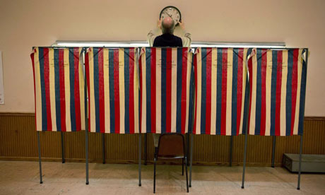 Voting booths in Saukville, Wisconsin
